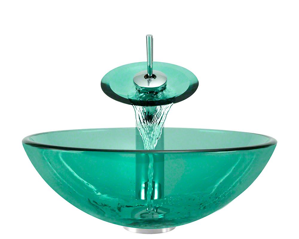 The Polaris P106 Emerald Chrome Bathroom Waterfall Faucet Ensemble
