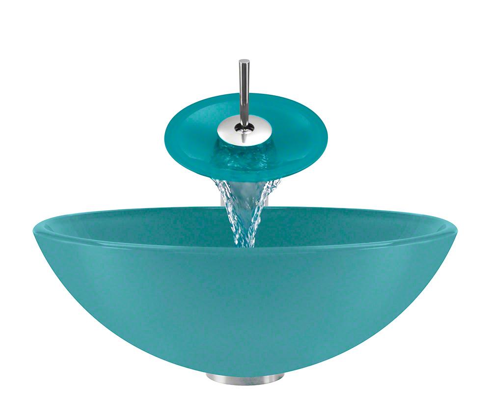 The Polaris P106 Turquoise Chrome Bathroom Waterfall Faucet Ensemble