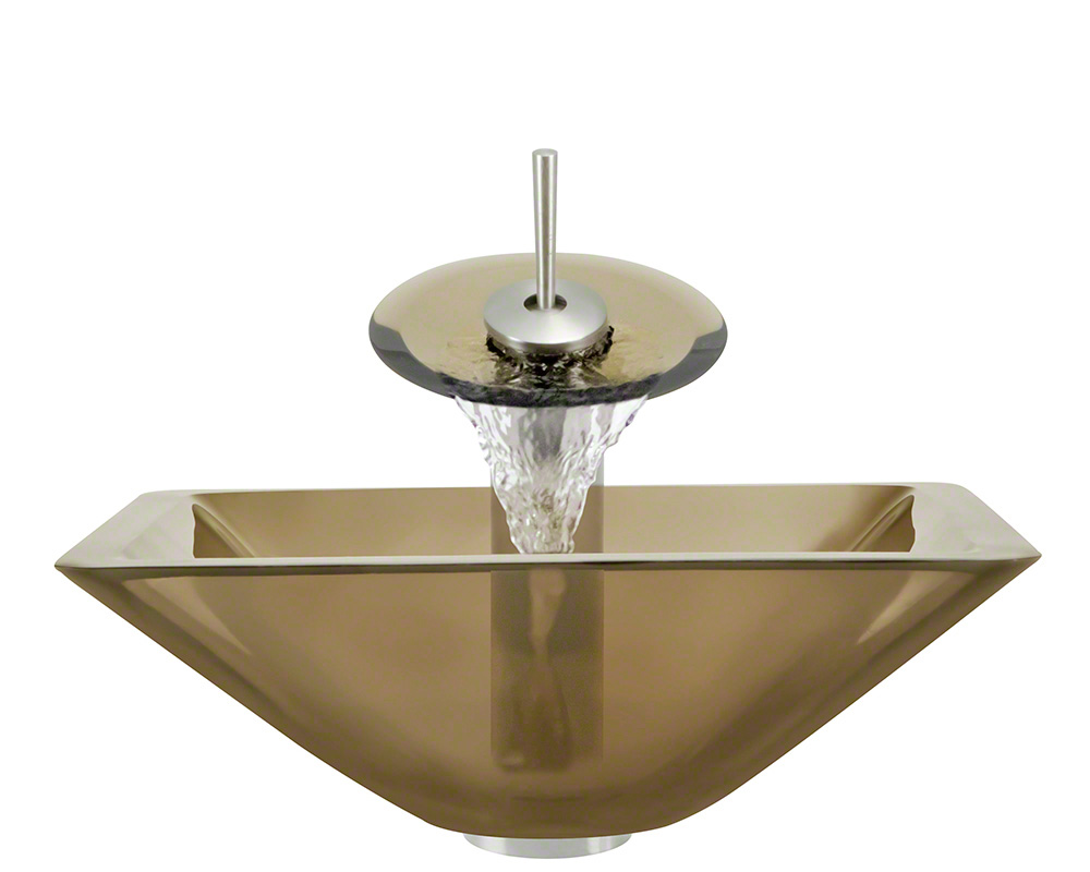 The Polaris P306 Taupe Brushed Nickel Bathroom Waterfall Faucet Ensemble