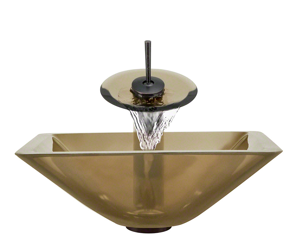 The Polaris P306 Taupe Oil Rubbed Bronze Bathroom Waterfall Faucet Ensemble