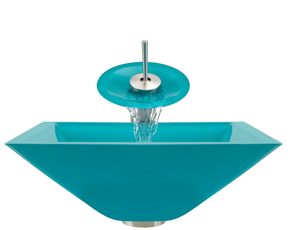 The Polaris P306 Turquoise Brushed Nickel Bathroom Waterfall Faucet Ensemble