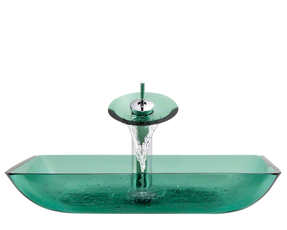 The Polaris P046 Emerald Chrome Bathroom Waterfall Faucet Ensemble