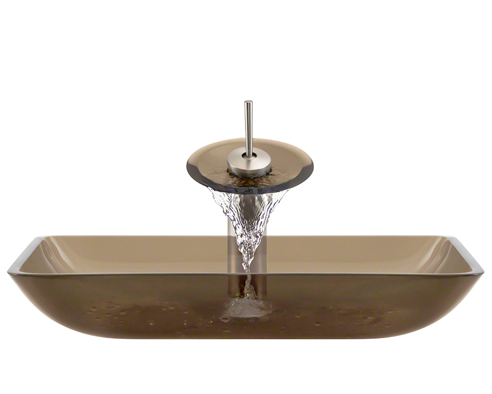 The Polaris P046 Taupe Brushed Nickel Bathroom Waterfall Faucet Ensemble