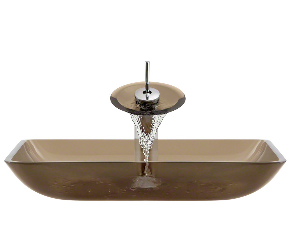 The Polaris P046 Taupe Chrome Bathroom Waterfall Faucet Ensemble