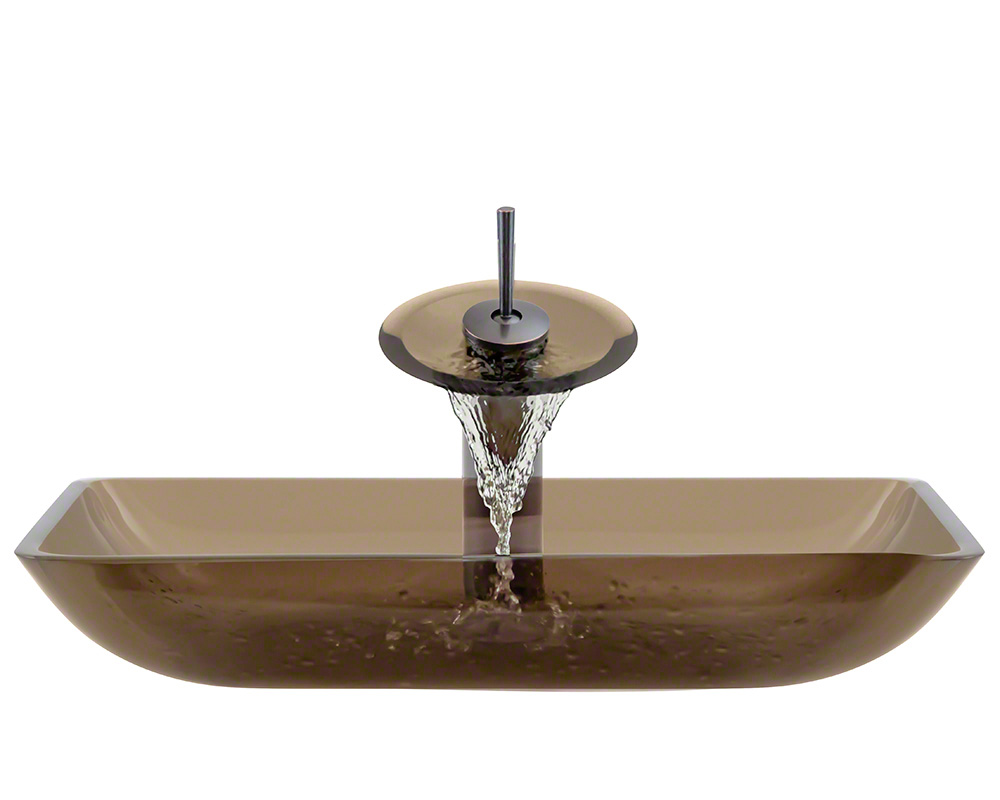 The Polaris P046 Taupe Oil Rubbed Bronze Bathroom Waterfall Faucet Ensemble