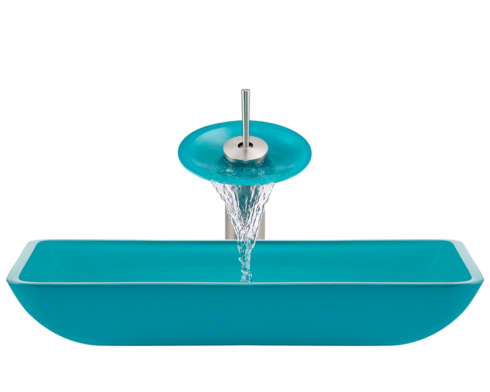 The Polaris P046 Turquoise Brushed Nickel Bathroom Waterfall Faucet Ensemble
