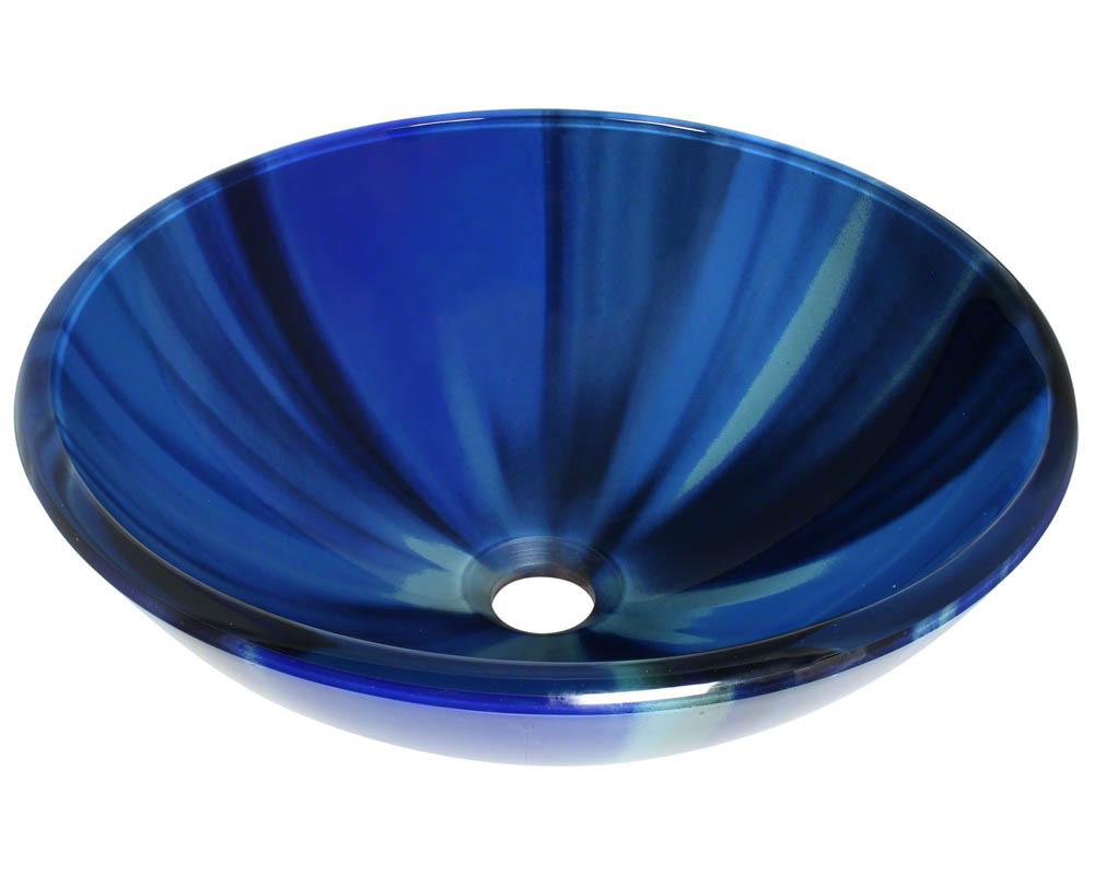 Polaris P726 Blue Sky Glass Vessel Bathroom Sink