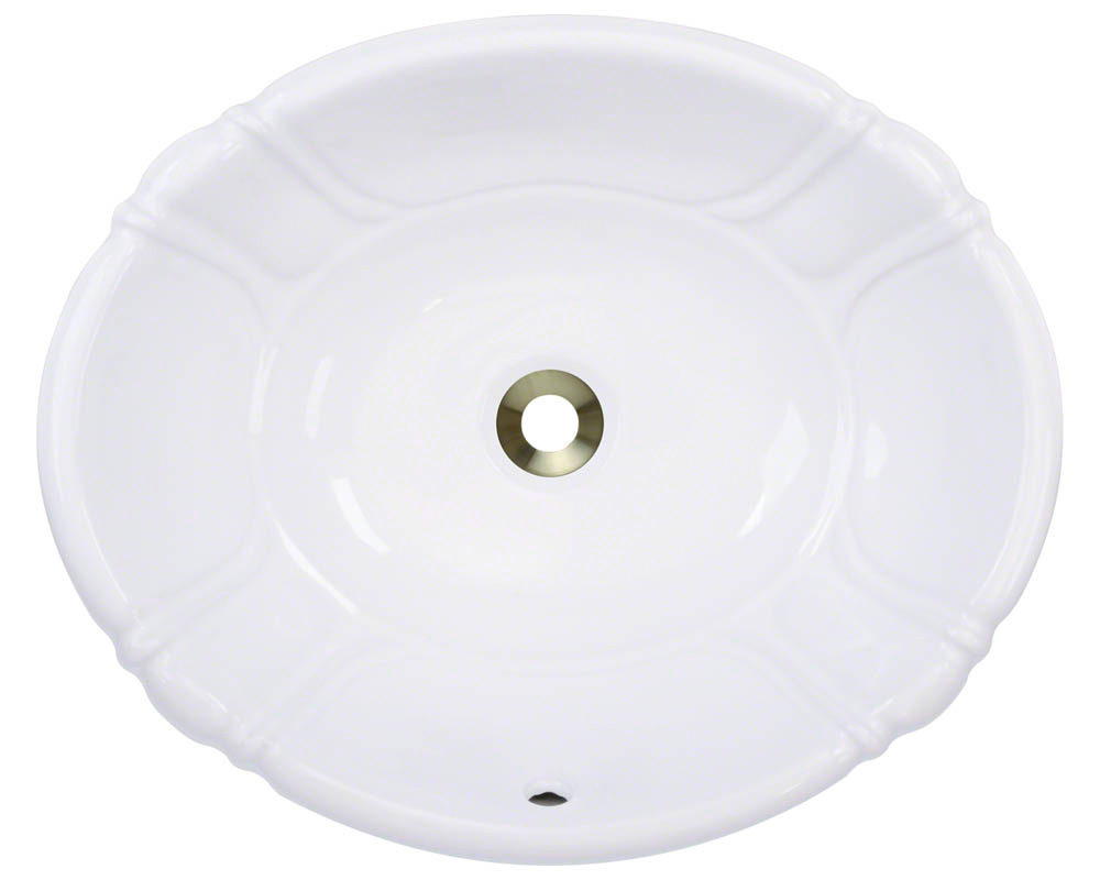Polaris P5181O-w White Porcelain Vessel / Drop-In Bathroom Vanity Sink