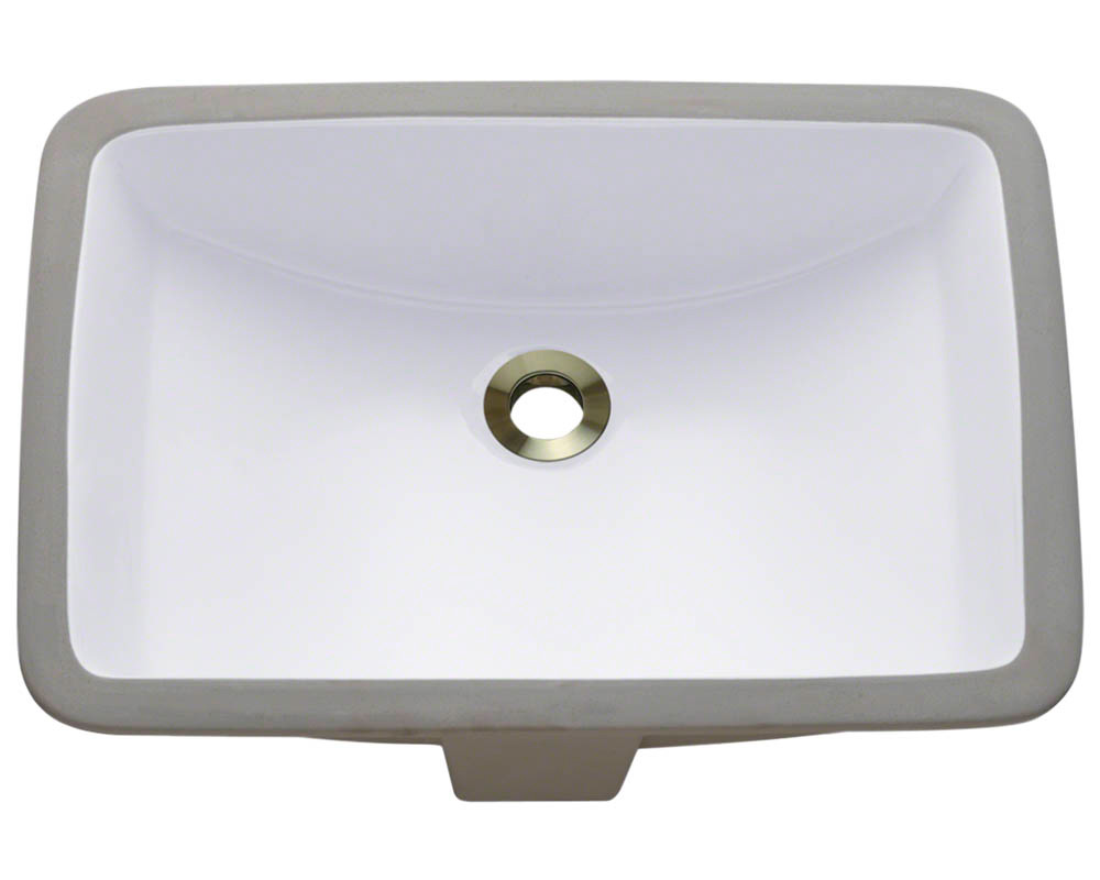Polaris P3191U-w White Rectangular Porcelain Undermount Bathroom Sink
