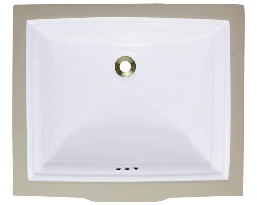 Polaris P0542U-w White Undermount Rectangular Porcelain Sink