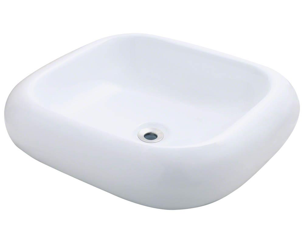 Polaris P011V-w White Pillow Top Porcelain Vessel Sink