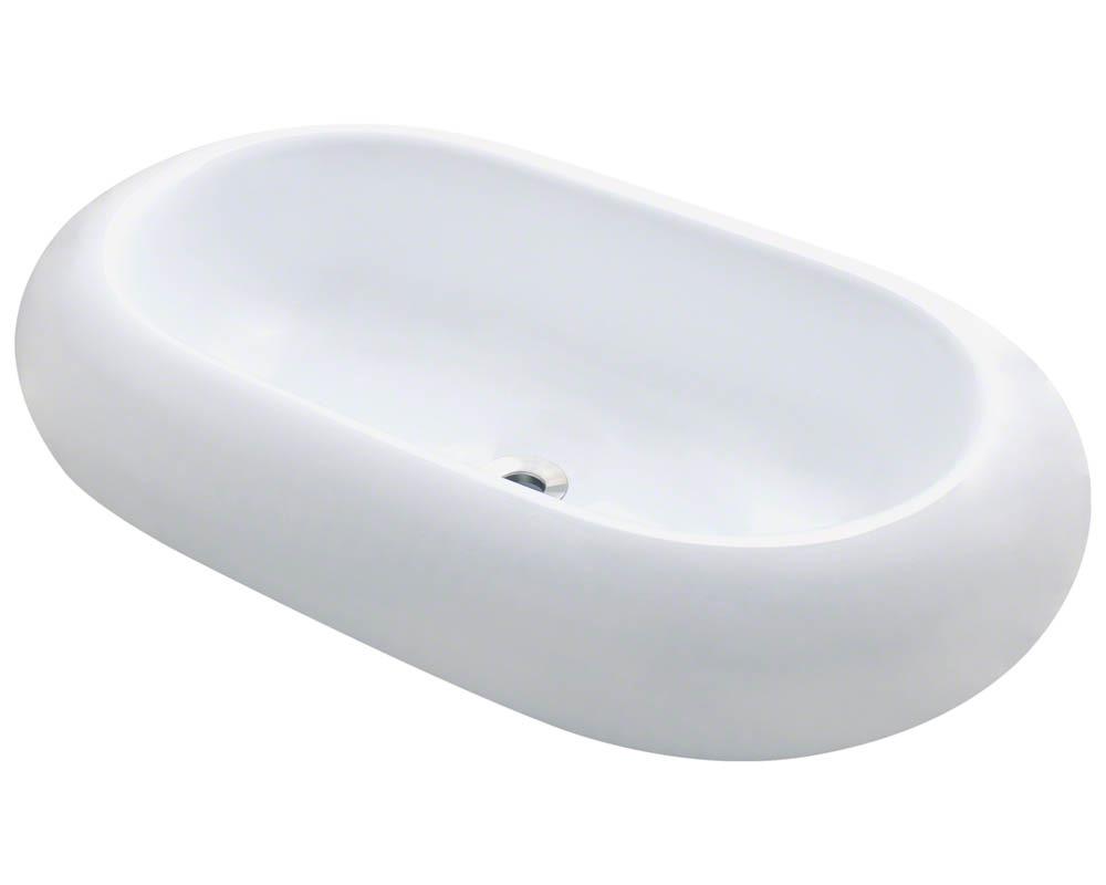 Polaris P031V-w White Pillow Top Porcelain Vessel Sink