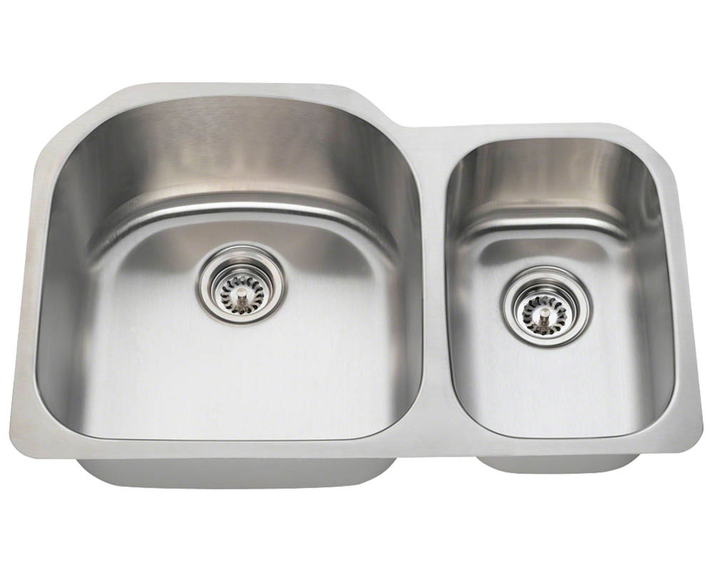 Polaris PL1213-18 Offset Double Bowl Stainless Steel Kitchen Sink