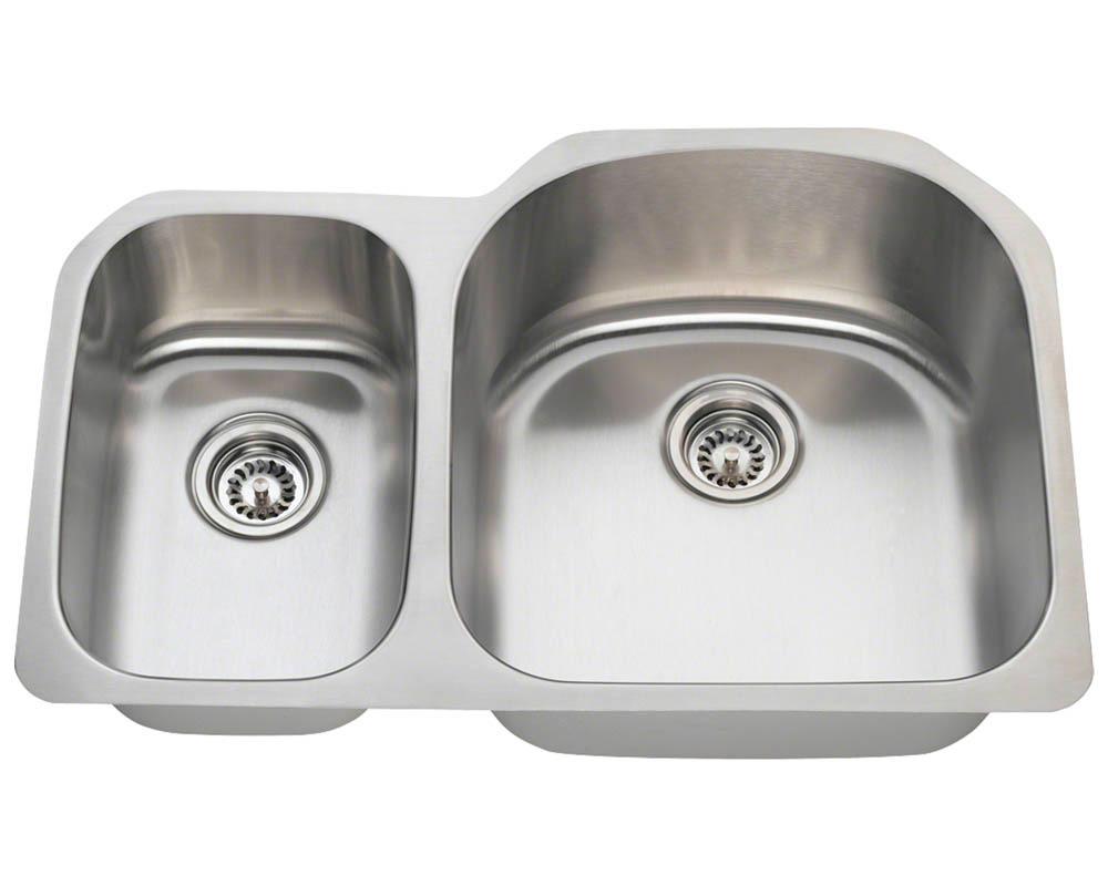 Polaris PR1213-18 Offset Double Bowl Stainless Steel Kitchen Sink