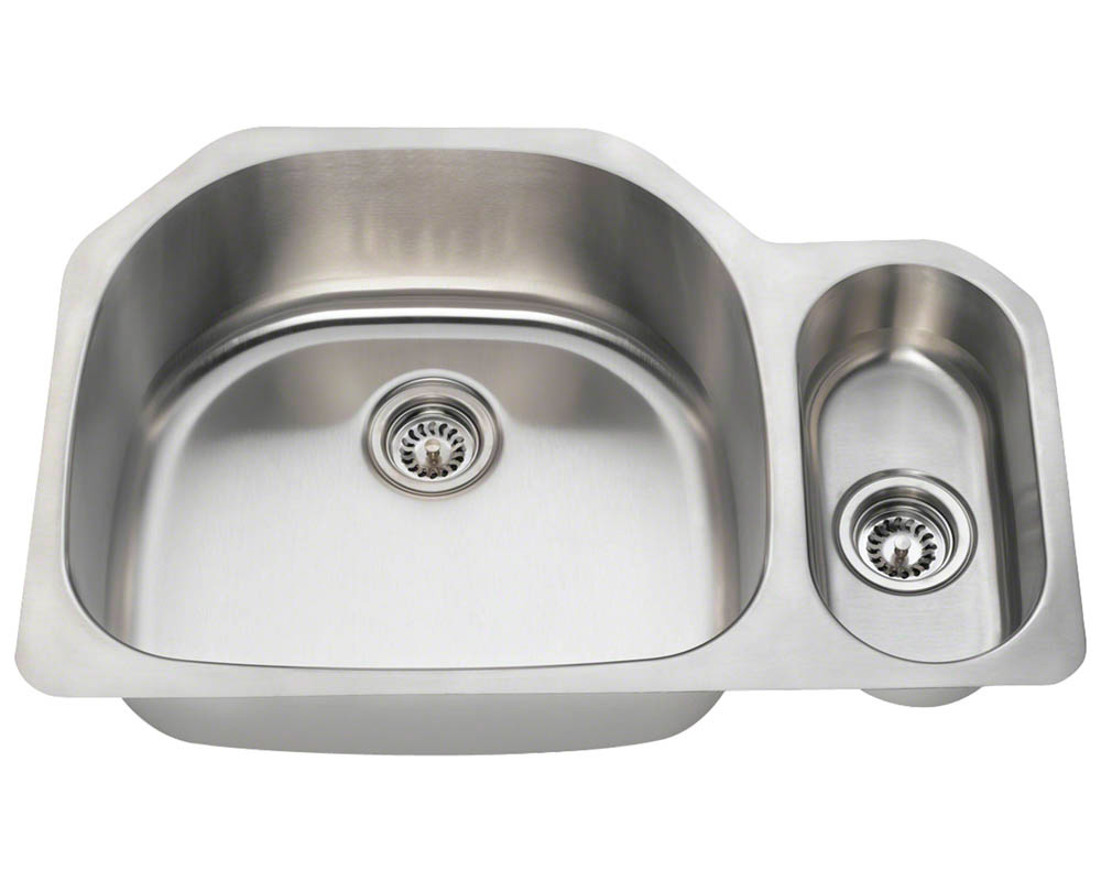 Polaris PL123-18 Offset Double Bowl Stainless Steel Kitchen Sink