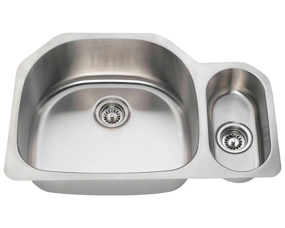 Polaris PL123-18 Offset Double Bowl Stainless Steel Kitchen Sink