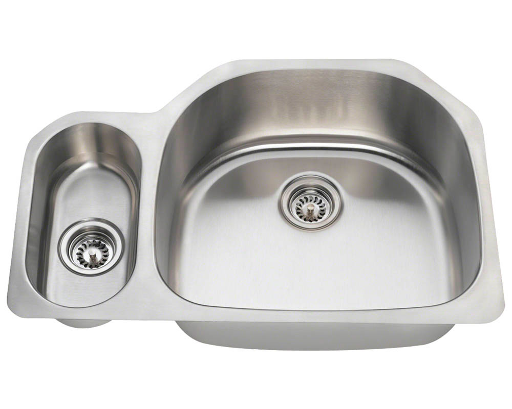 Polaris PR123-18 Offset Double Bowl Stainless Steel Kitchen Sink