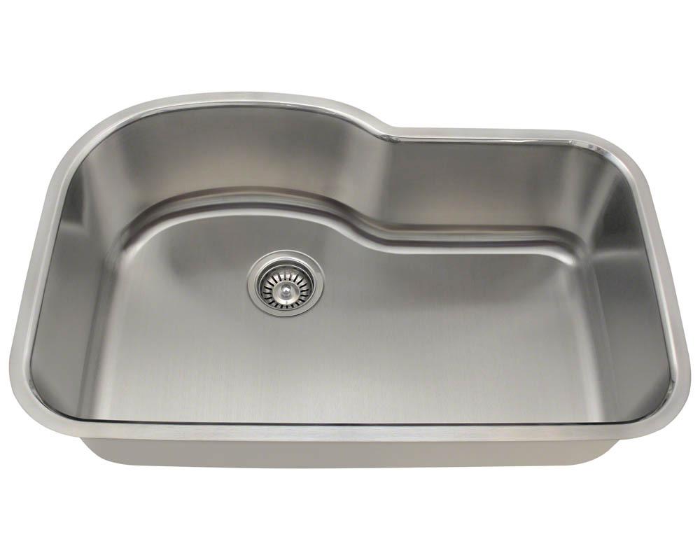 Polaris P643-18 Offset Single Bowl Stainless Steel Sink