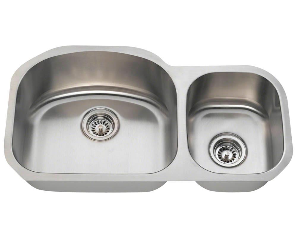 Polaris PL105-18 Offset Double Bowl Stainless Steel Kitchen Sink