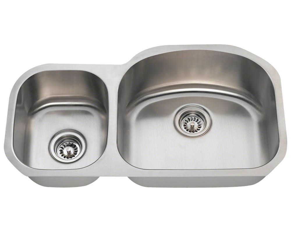 Polaris PR105-18 Offset Double Bowl Stainless Steel Kitchen Sink