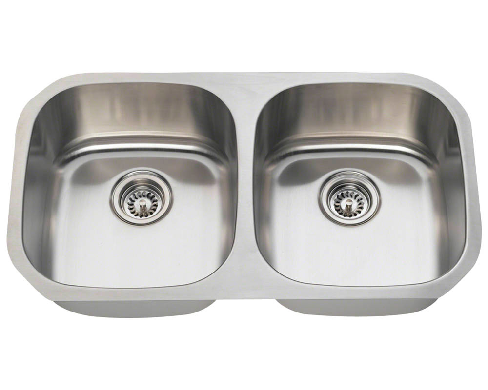 Polaris P205-18 Equal Double Bowl Stainless Steel Sink