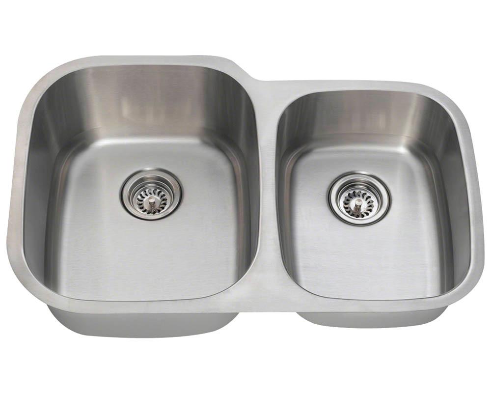 Polaris PL305-18 Offset Double Bowl Stainless Steel Sink