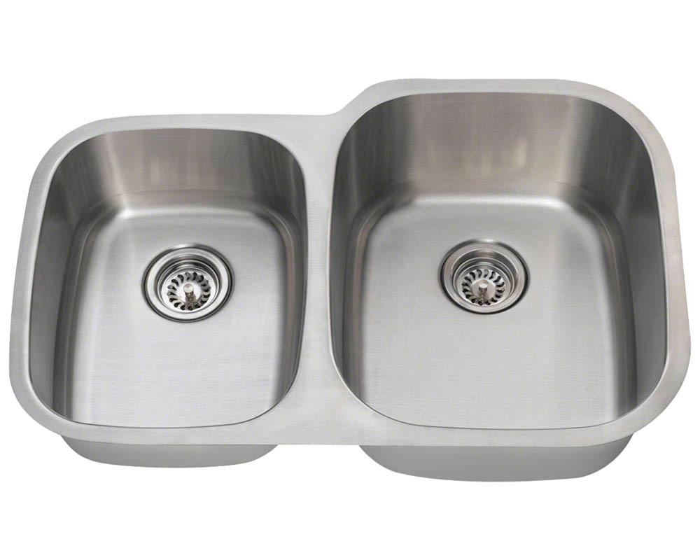 Polaris PR305-18 Offset Double Bowl Stainless Steel Sink