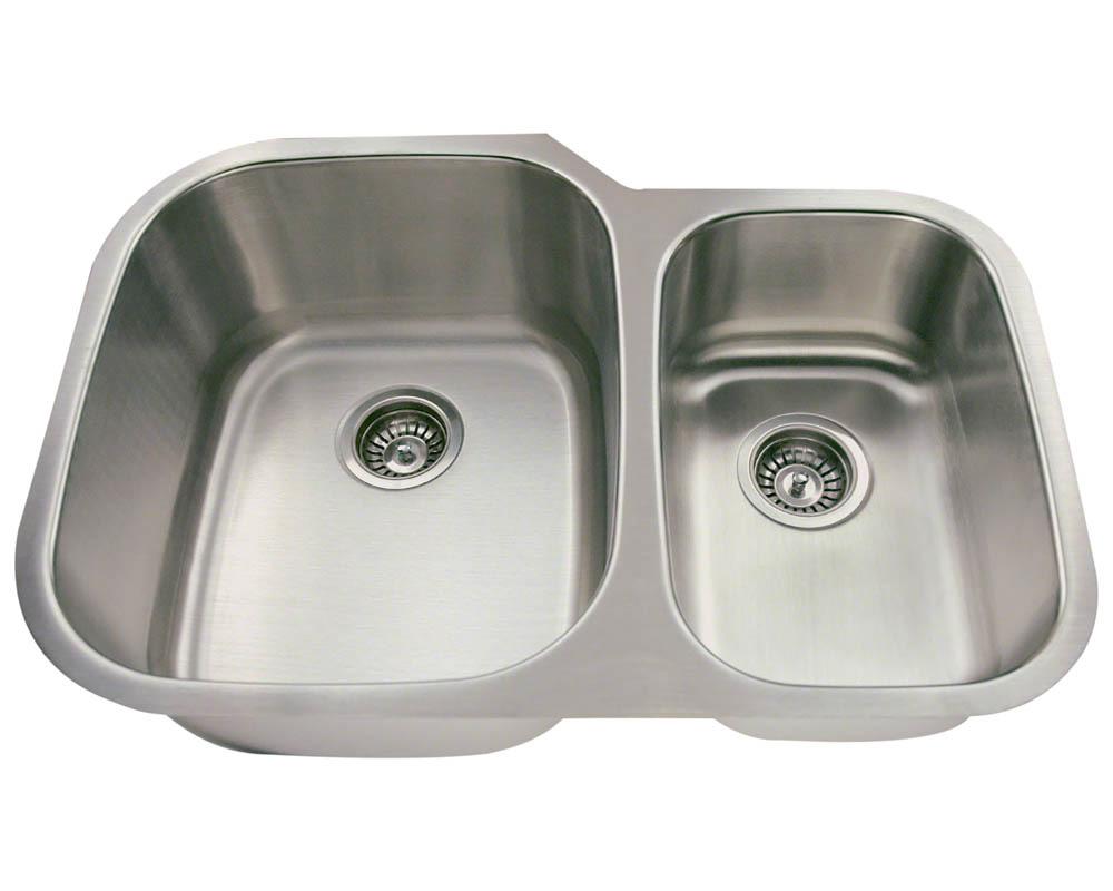 Polaris PL605-18 Offset Double Bowl Stainless Steel Sink