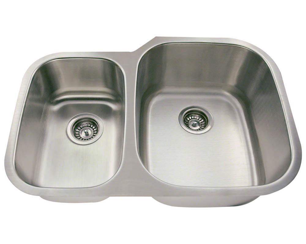 Polaris PR605-18 Offset Double Bowl Stainless Steel Sink