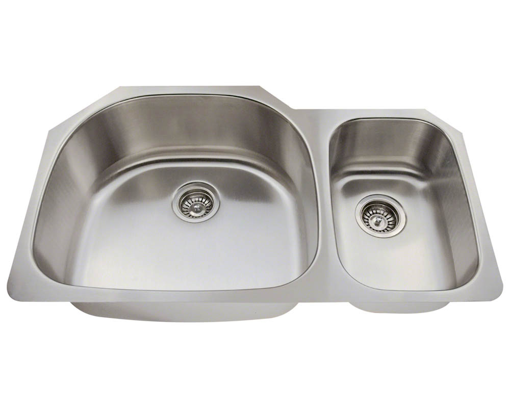 Polaris PL905-18 Offset Double Bowl Stainlses Steel Kitchen Sink