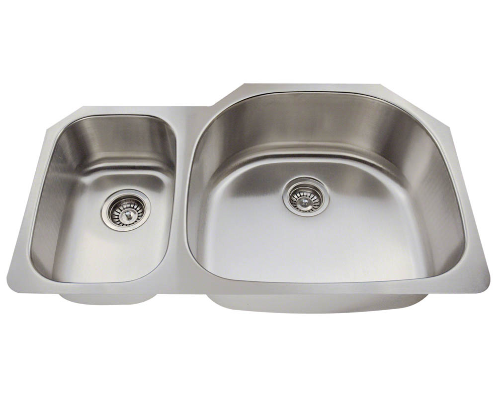 Polaris PR905-18 Offset Double Bowl Stainless Steel Kitchen Sink