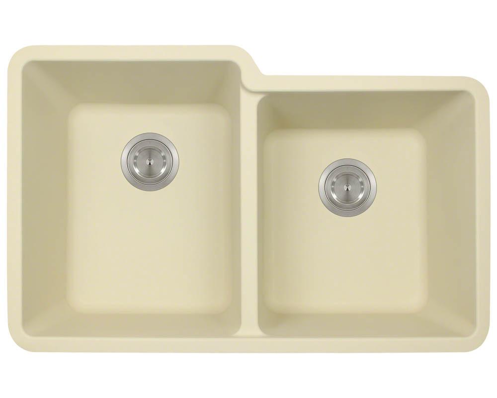 Polaris P108 Beige Astragranite Double Offset Bowl Kitchen Sink