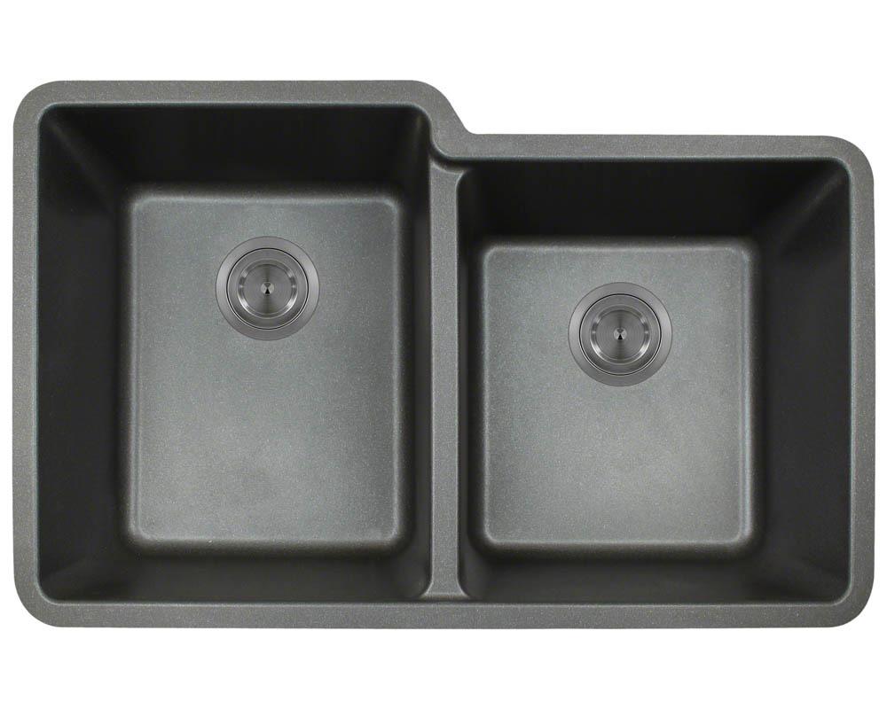 Polaris P108 Black Astragranite Double Offset Bowl Kitchen Sink
