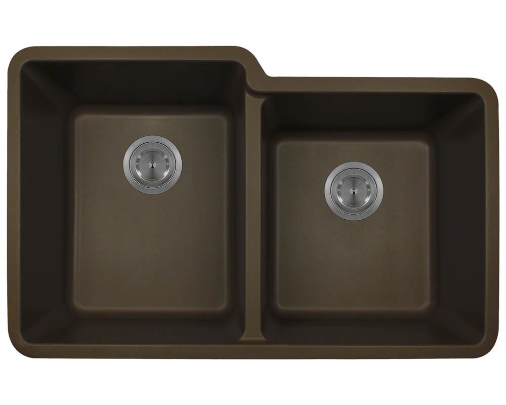 Polaris P108 Mocha Astragranite Double Offset Bowl Kitchen Sink