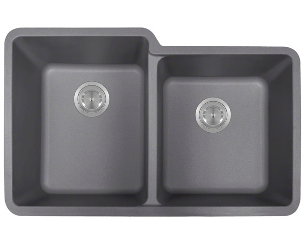 Polaris P108 Silver Astragranite Double Offset Bowl Kitchen Sink