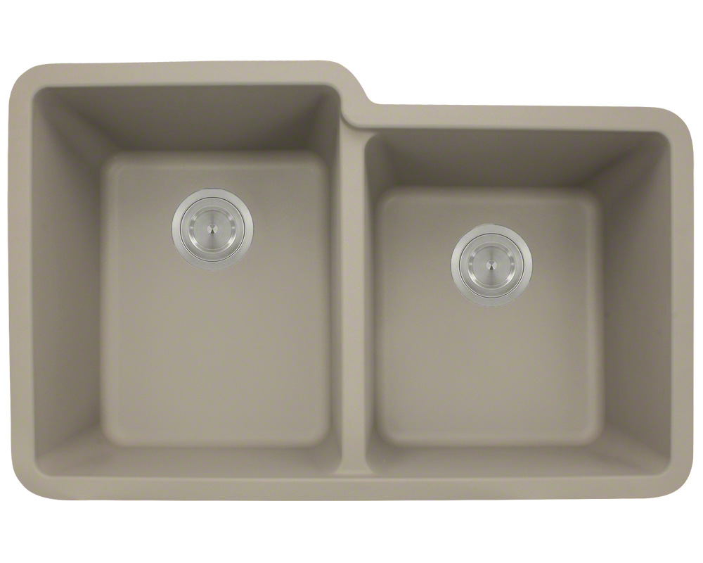 Polaris P108 Slate Astragranite Double Offset Bowl Kitchen Sink