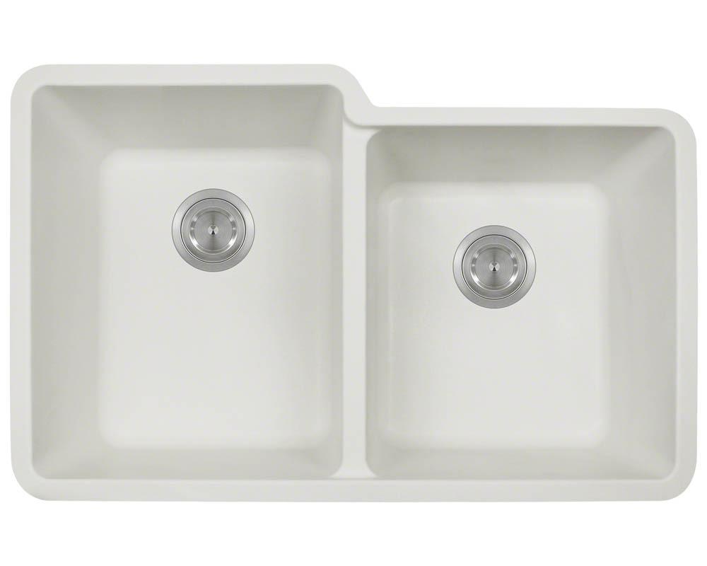 Polaris P108 White Astragranite Double Offset Bowl Kitchen Sink