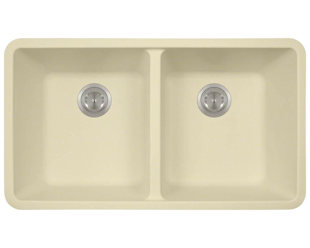 Polaris P208 Beige Astragranite Double Equal Bowl Kitchen Sink