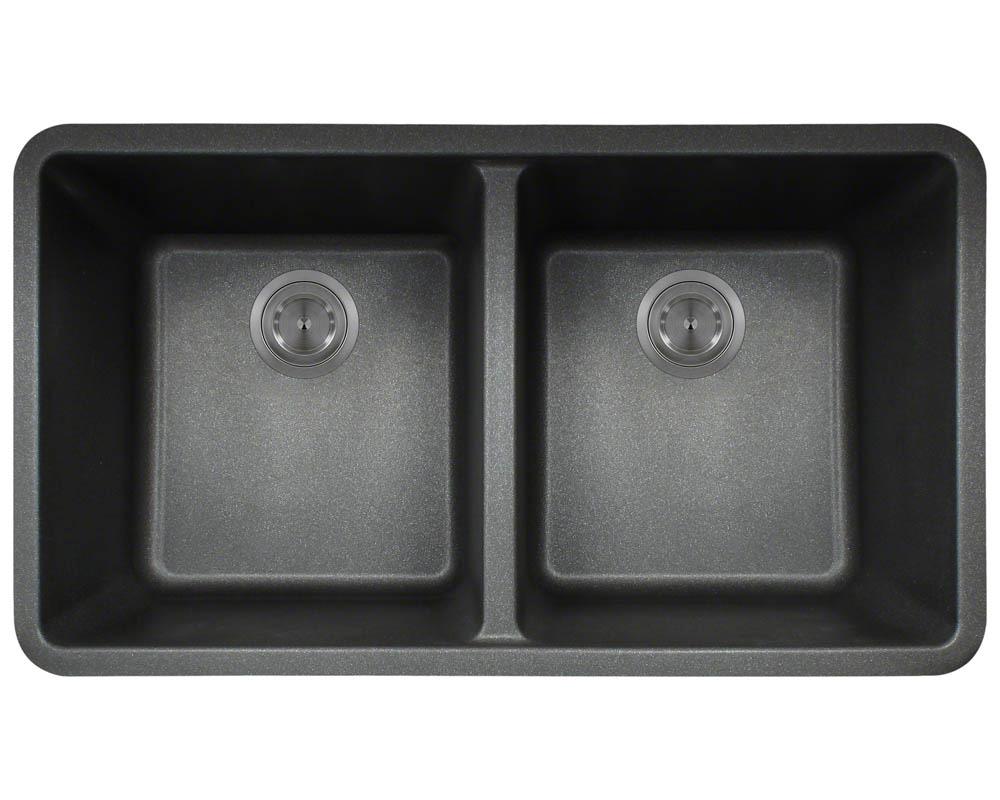 Polaris P208 Black Astragranite Double Equal Bowl Kitchen Sink