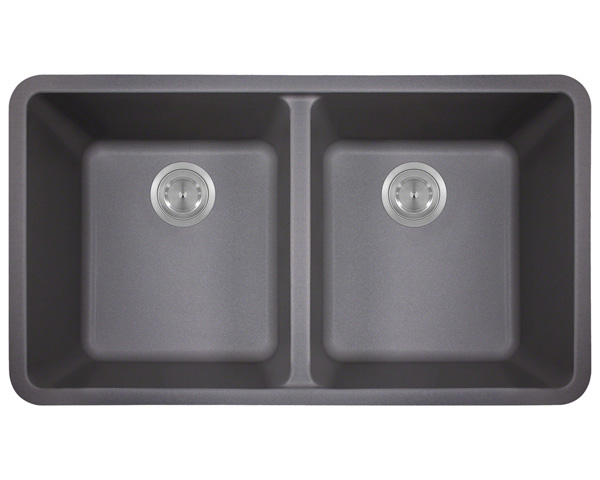 Polaris P208 Silver Astragranite Double Equal Bowl Kitchen Sink