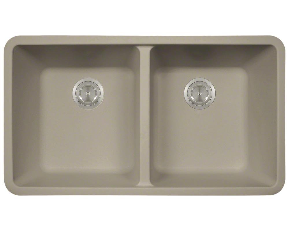 Polaris P208 Slate Astragranite Double Equal Bowl Kitchen Sink