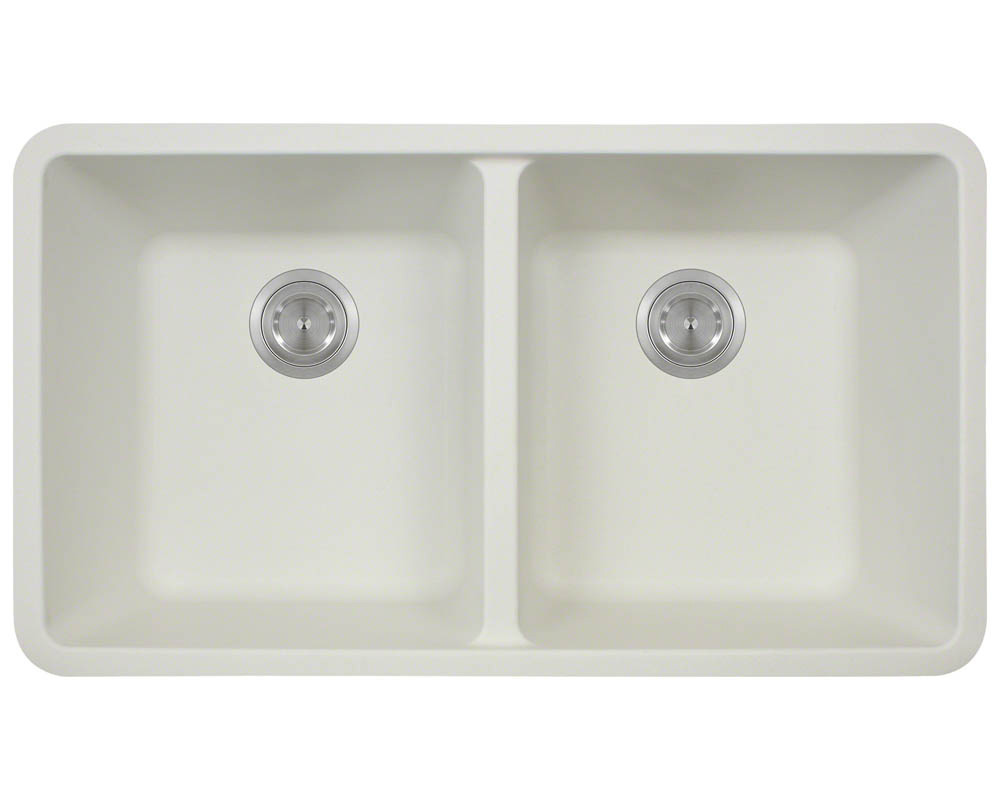 Polaris P208 White Astragranite Double Equal Bowl Kitchen Sink
