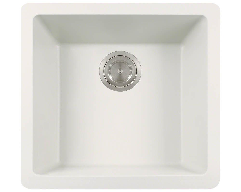 Polaris P508 White Astragranite Single Bowl Kitchen Sink