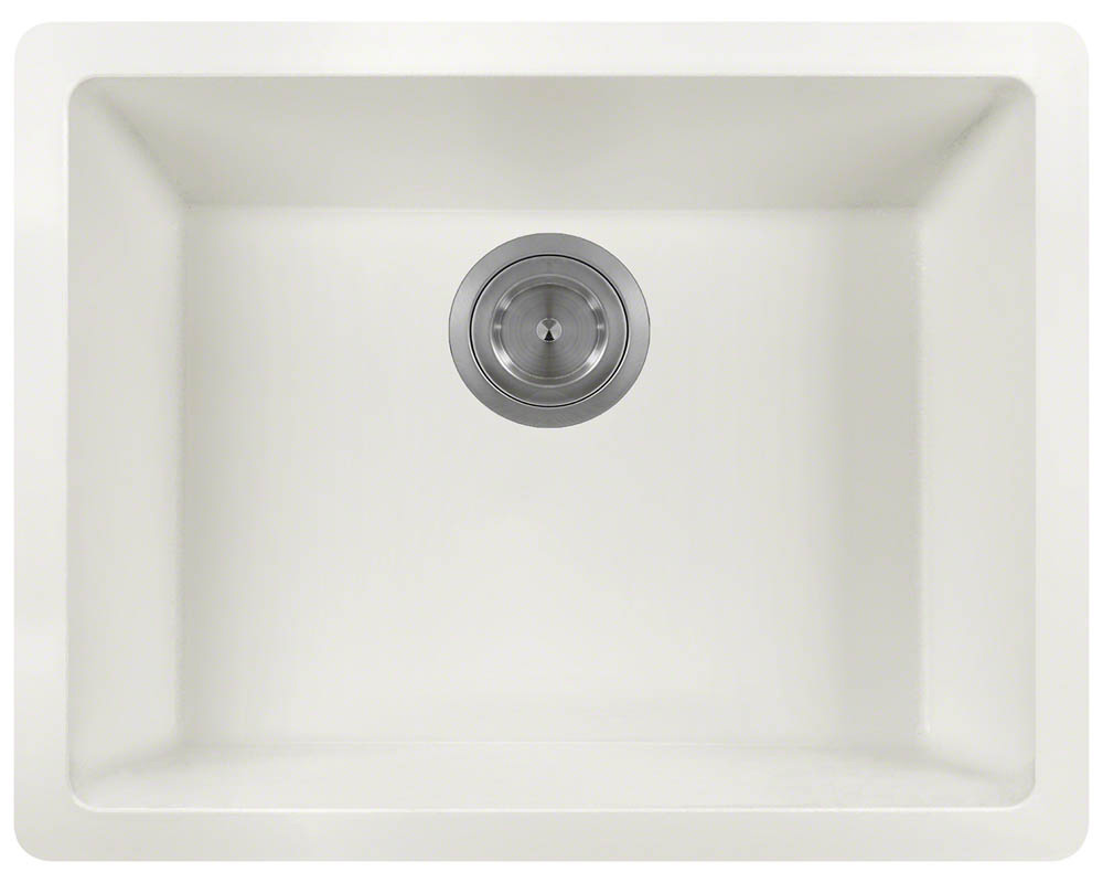 Polaris P808 White Astragranite Single Bowl Kitchen Sink