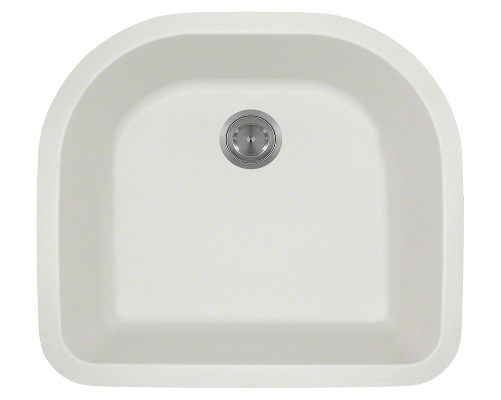 Polaris P428 White D-Bowl Astragranite Kitchen Sink
