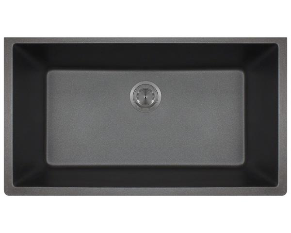 Polaris P828 Black Astragranite Single Bowl Kitchen Sink