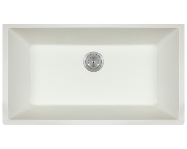 Polaris P828 White Astragranite Single Bowl Kitchen Sink